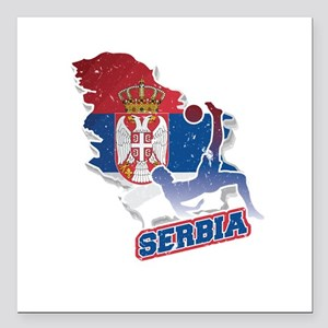 """Football Worldcup Serbia Square Car Magnet 3"""" x 3"""""""