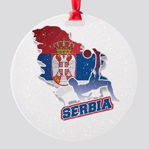 Football Worldcup Serbia Serbian So Round Ornament