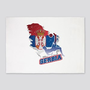 Football Worldcup Serbia Serbian So 5'x7'Area Rug