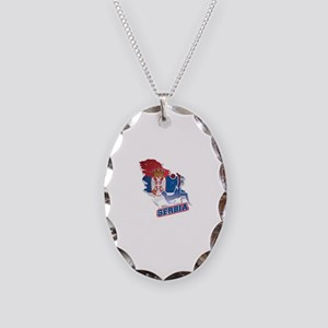 Football Worldcup Serbia Serbi Necklace Oval Charm