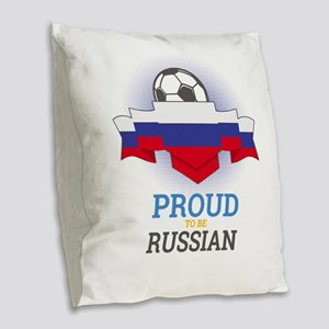 Football Russian Russia Soccer Burlap Throw Pillow