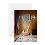 Sheltie Puppies With Celtic Harp Greeting Card