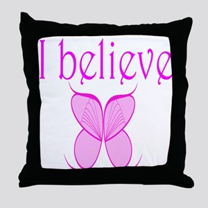 """""""I Believe"""" Fairy Wings Throw Pillow"""