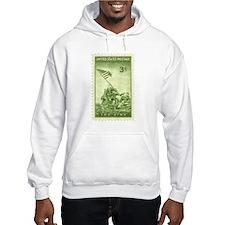 Iwo Jima 3 Cent Stamp Hooded Sweatshirt