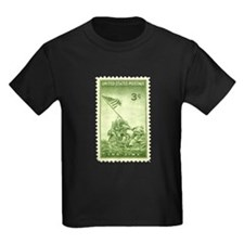 Iwo Jima 3 Cent Stamp Kids Dark T-Shirt
