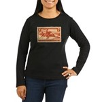 Pony Express 3-cent Stamp Women's Long Sleeve Dark