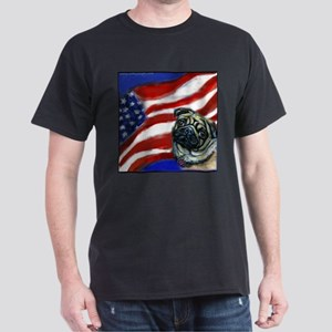 Pug American Flag Dark T-Shirt