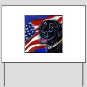 Black Labrador American Flag Yard Sign
