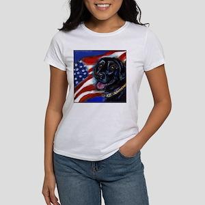 Black Labrador American Flag Women's T-Shirt