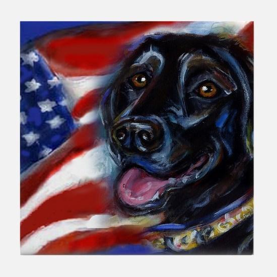 Black Labrador American Flag Tile Coaster