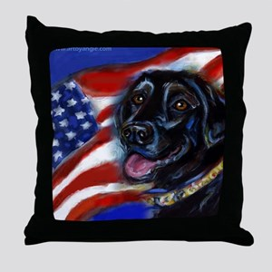 Black Labrador American Flag Throw Pillow