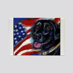 Black Labrador American Flag Rectangle Magnet