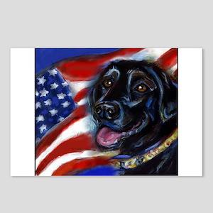 Black Labrador American Flag Postcards (Package of