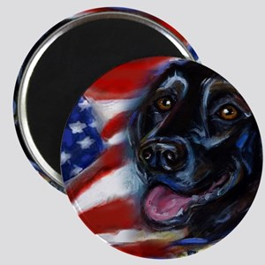 Black Labrador American Flag Magnet