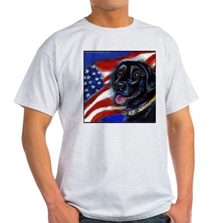 Black Labrador American Flag Light T-Shirt