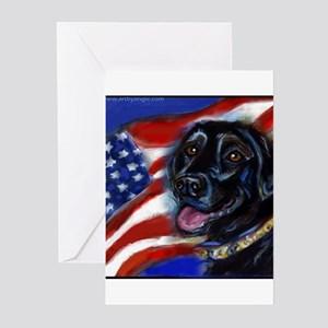 Black Labrador American Flag Greeting Cards (Pk of