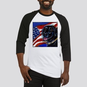 Black Labrador American Flag Baseball Jersey
