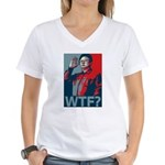 Kim Jong Il: WTF? Women's V-Neck T-Shirt