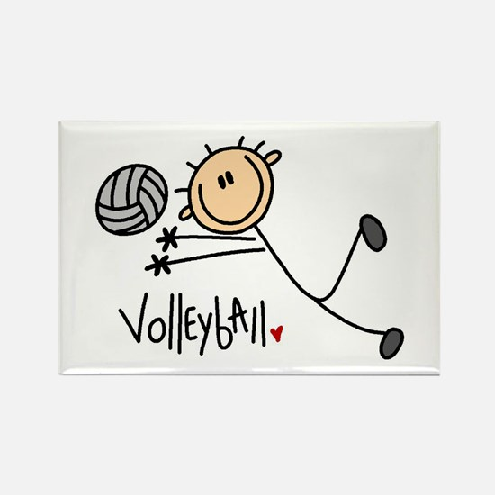 Volleyball Stick Figure Rectangle Magnet