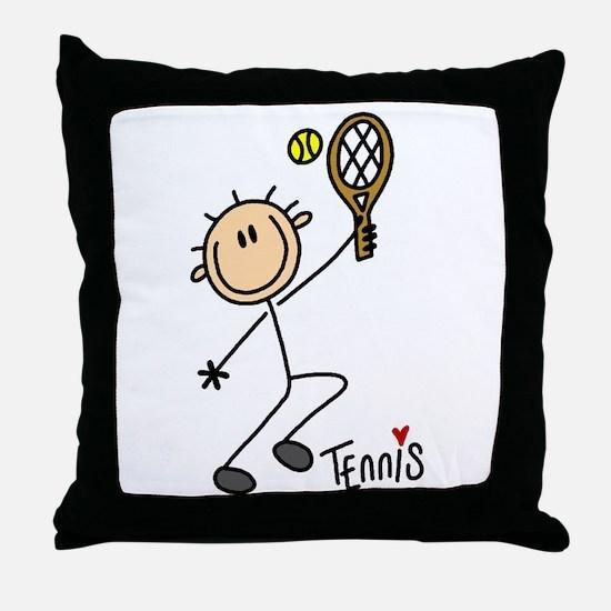 Tennis Stick Figure Throw Pillow