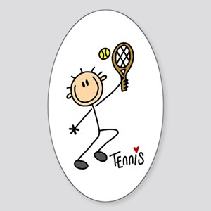 Tennis Stick Figure Oval Sticker