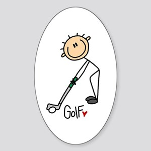 Golf Stick Figure Oval Sticker