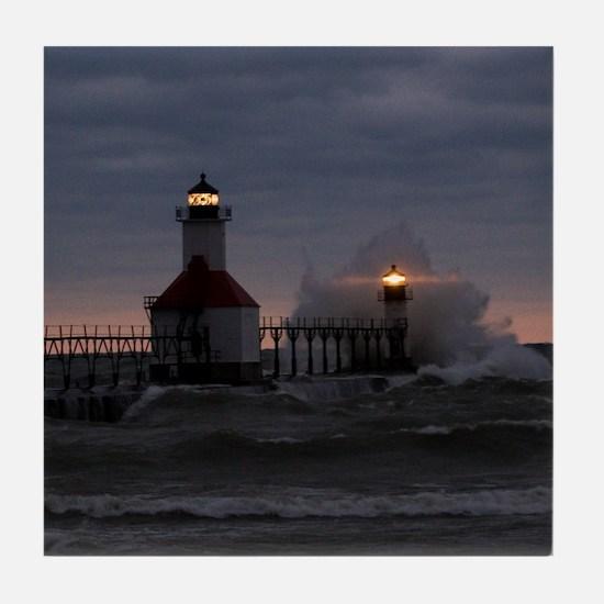 St Joe North Pier Lighthouses Tile Coaster