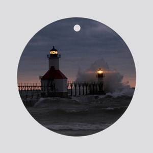 St Joe North Pier Lighthouses Ornament (Round)