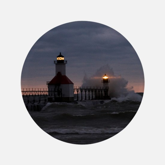 "St Joe North Pier Lighthouses 3.5"" Button"