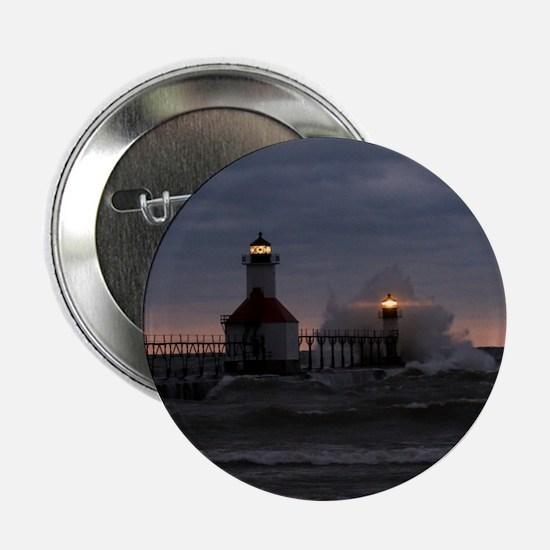 "St Joe North Pier Lighthouses 2.25"" Button"