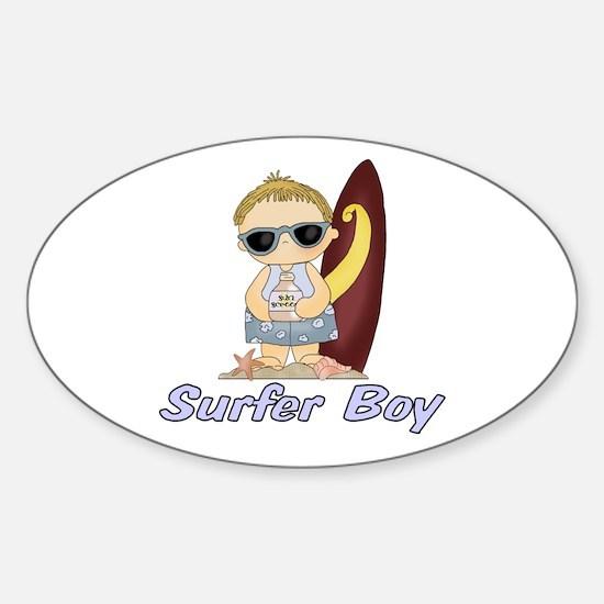 Surfer Boy Oval Decal