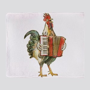 Accordian Playing Chicken Throw Blanket