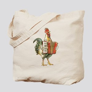 Accordian Playing Chicken Tote Bag