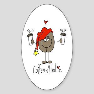 Coffee-Aholic Oval Sticker