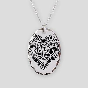 Nurse Heart Necklace Oval Charm