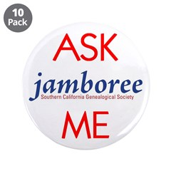 "ASK ME Genealogy Jamboree 3.5"" Button (10 pac"