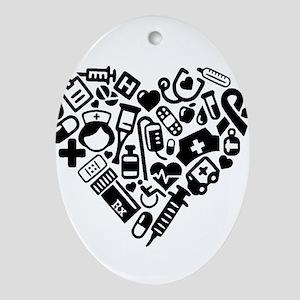 Nurse Heart Oval Ornament