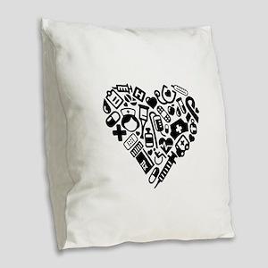 Nurse Heart Burlap Throw Pillow