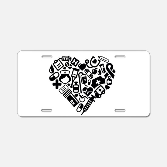 Nurse Heart Aluminum License Plate