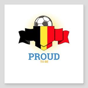 """Football Belgians Belgiu Square Car Magnet 3"""" x 3"""""""