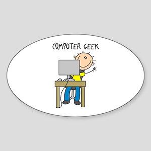 Computer Geek Oval Sticker