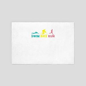 Swim Bike Run Swimming Bicycle Running 4' x 6' Rug