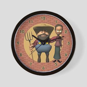 Farmer and Wife Wall Clock