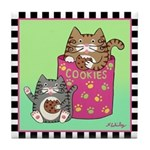 2 Kitty Cats & Cookie Jar Tile Coaster