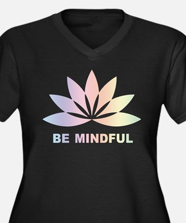Be Mindful Women's Plus Size V-Neck Dark T-Shirt