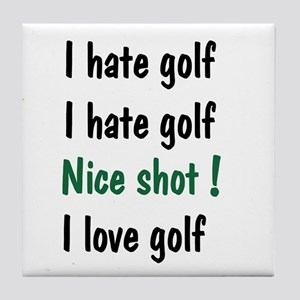 I Hate/Love Golf Tile Coaster