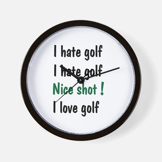 I Hate/Love Golf Wall Clock
