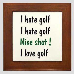 I Hate/Love Golf Framed Tile