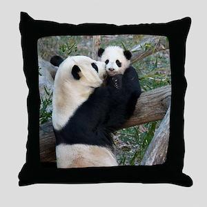 Mom & Baby Giant Pandas Throw Pillow