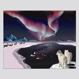Wolves under the Aurora Small Poster